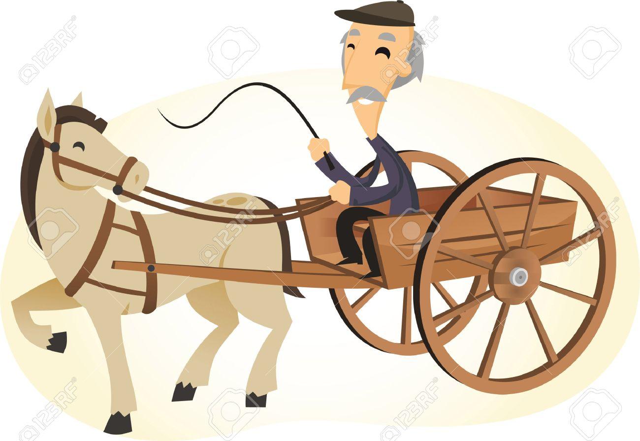 Horse Carriage Cartoon Horse Powered Cart Cartoon