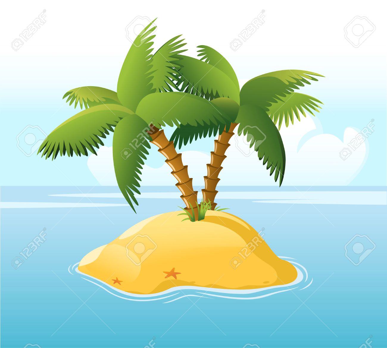Cartoon Palm Tree Island Desert Island With Palm Trees
