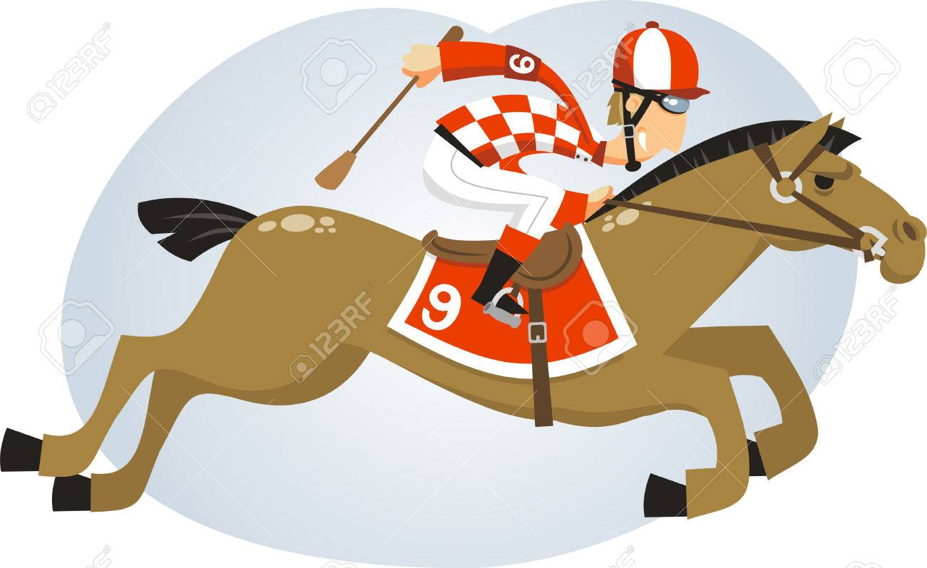 Polo Jockey riding horse with brown horse, equestrian helmet, riding bootsm white trousers, gloves, wristbands, kneepads, spurs, face mask, whip, chin strap vector illustration. - 34230013