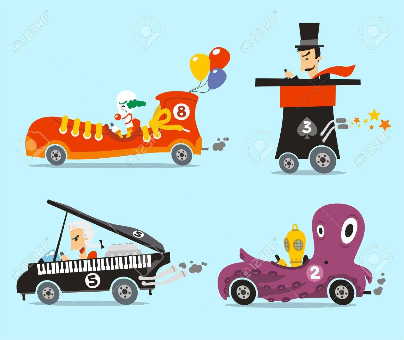 Autos Locos Ilustracion Vectorial Conjunto De Dibujos Animados Con
