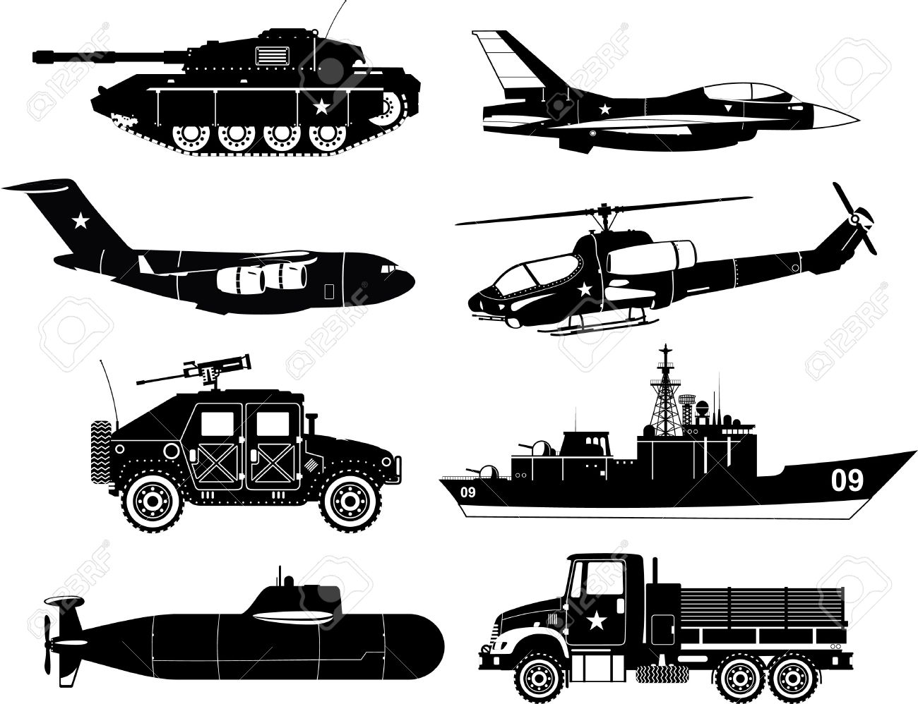 War Vehicles Black White With Tank Plane Air Craft