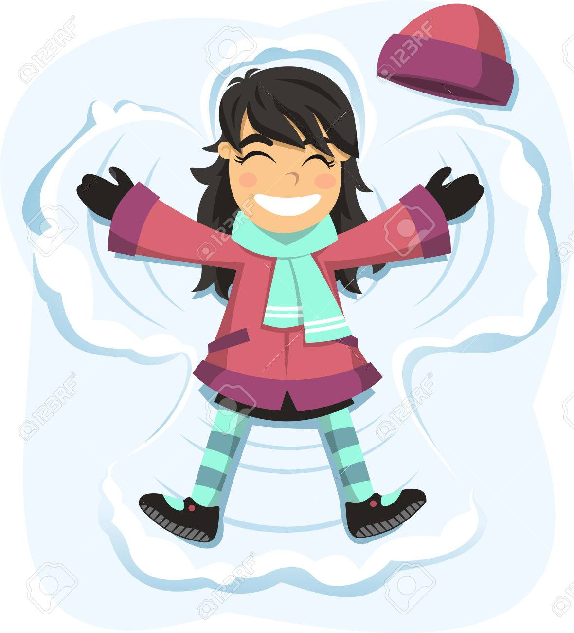 snow angel happy girl enjoying snowy day royalty free cliparts rh 123rf com