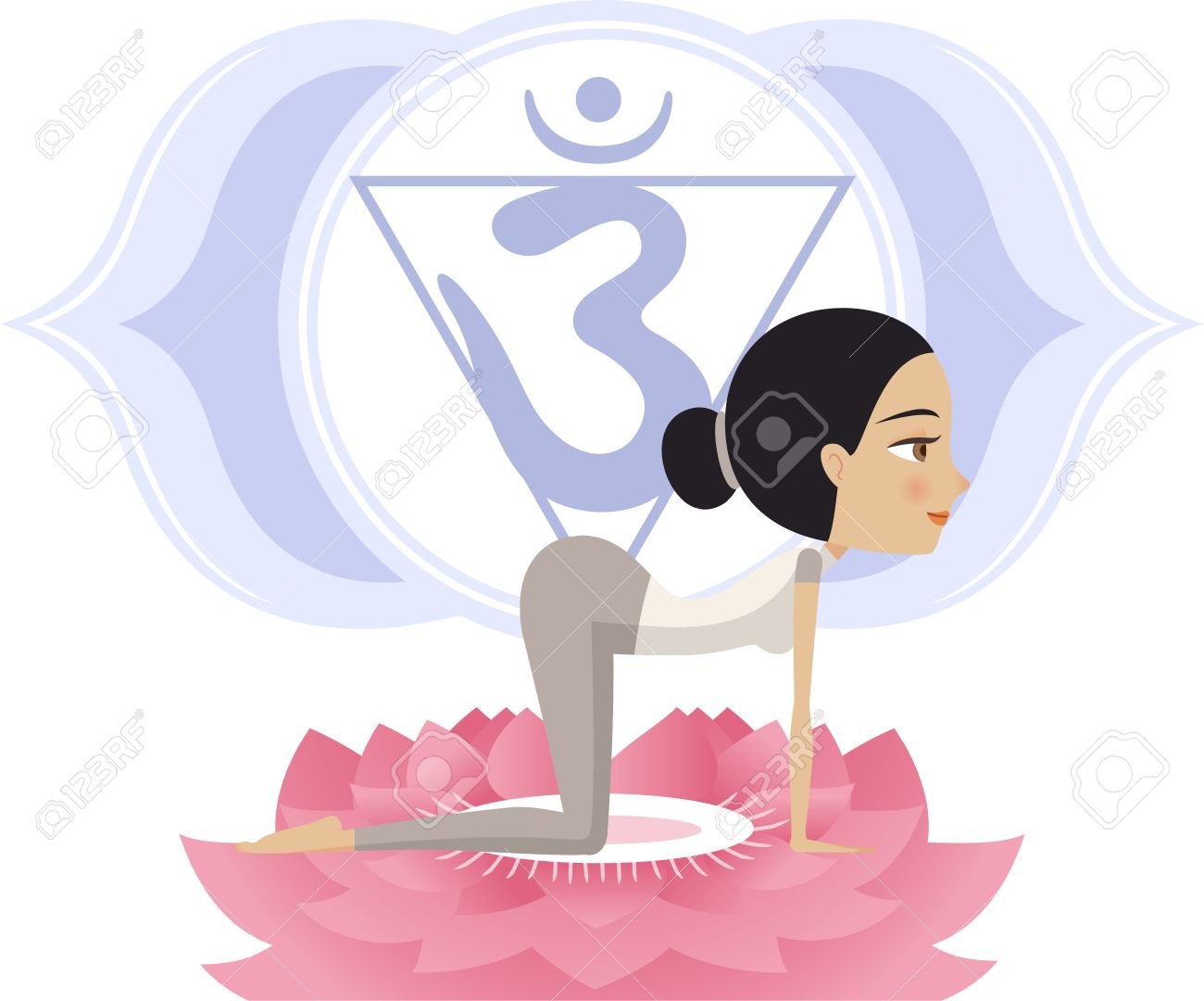Yoga Asana Practice Posture On A Lotus Flower With Om Symbol In