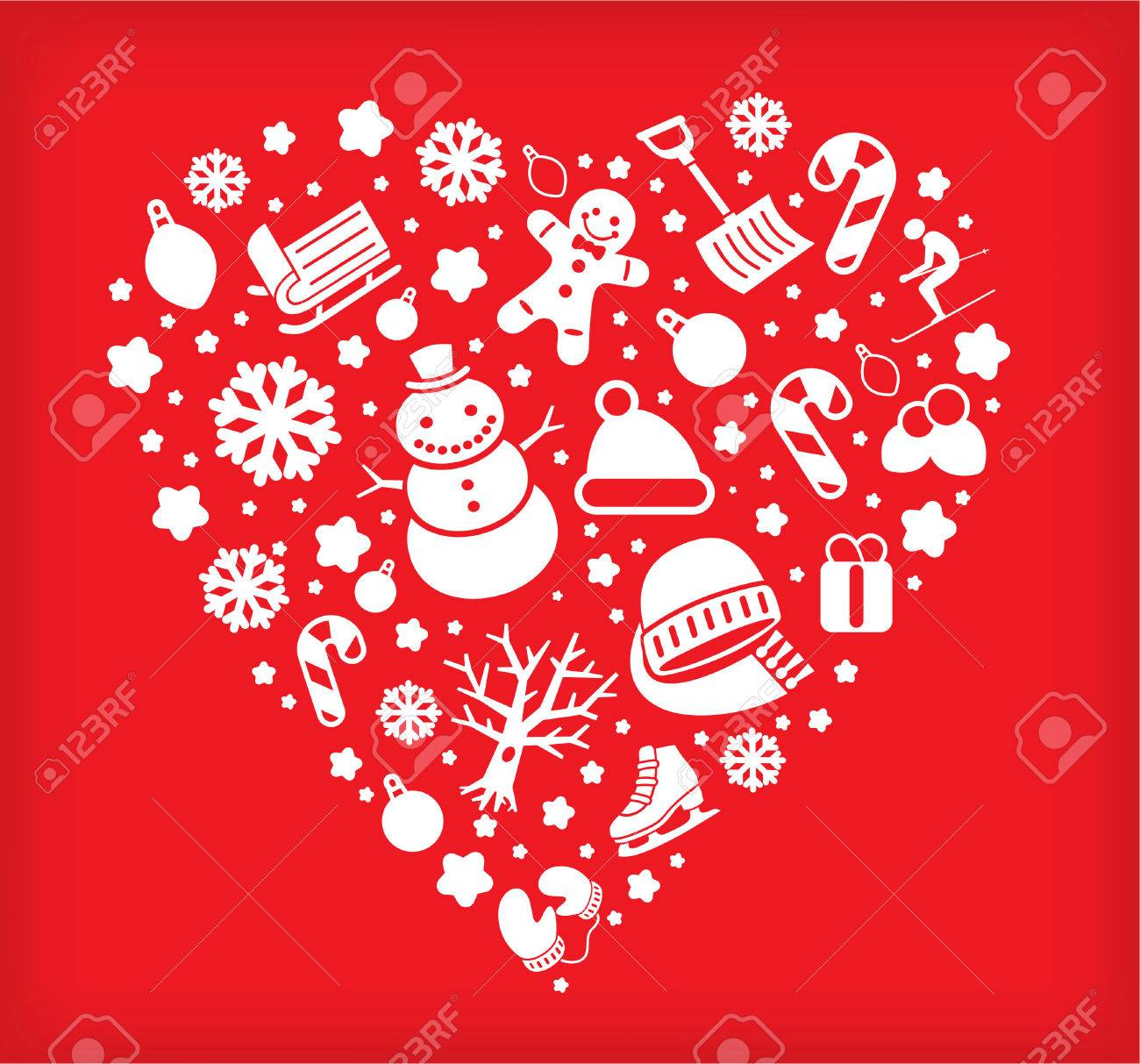 Christmas Heart Vector.Christmas Heart Shape Made With Winter Decoration Icons