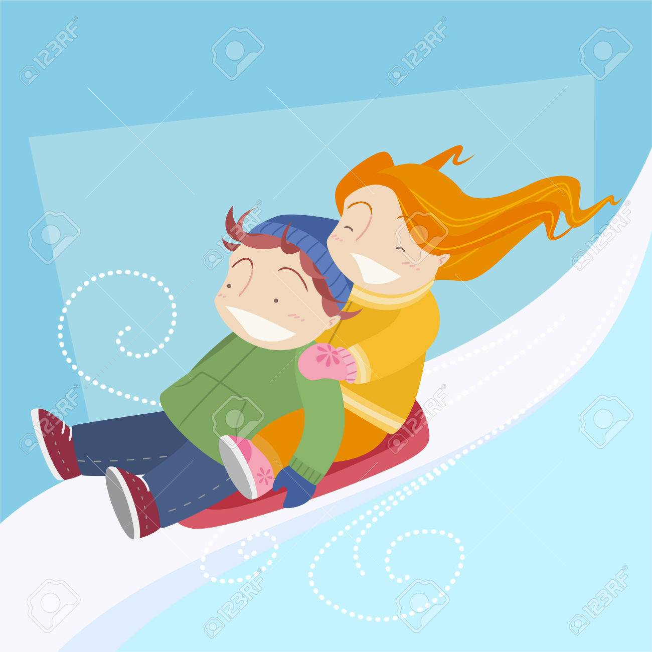 Two Kids Skiing In Toboggan Sled In A Snow Cart. Vector ...