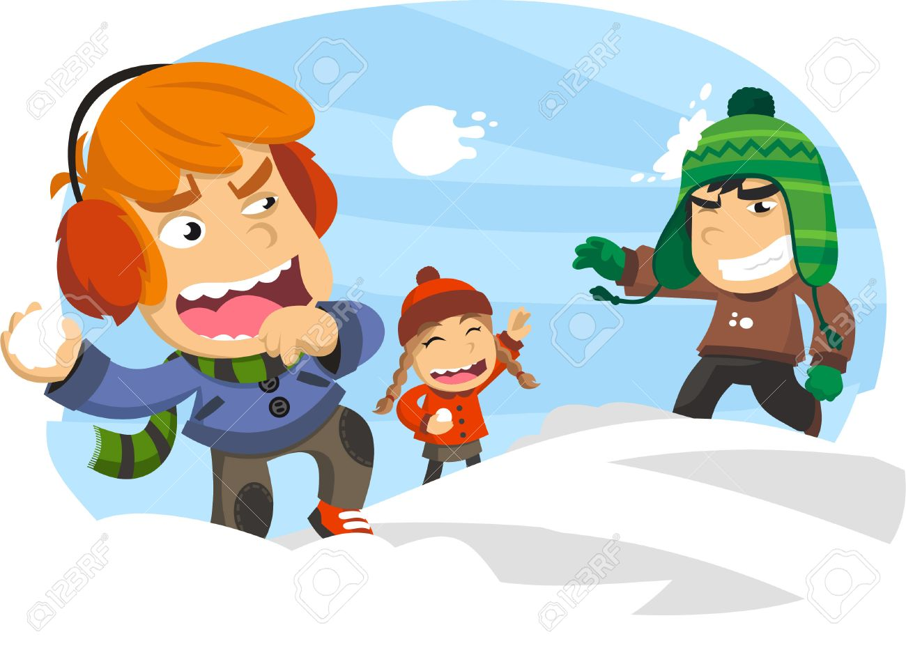 Three Happy Kids In A Snowball Fight, During A Winter Snowy Snow ...
