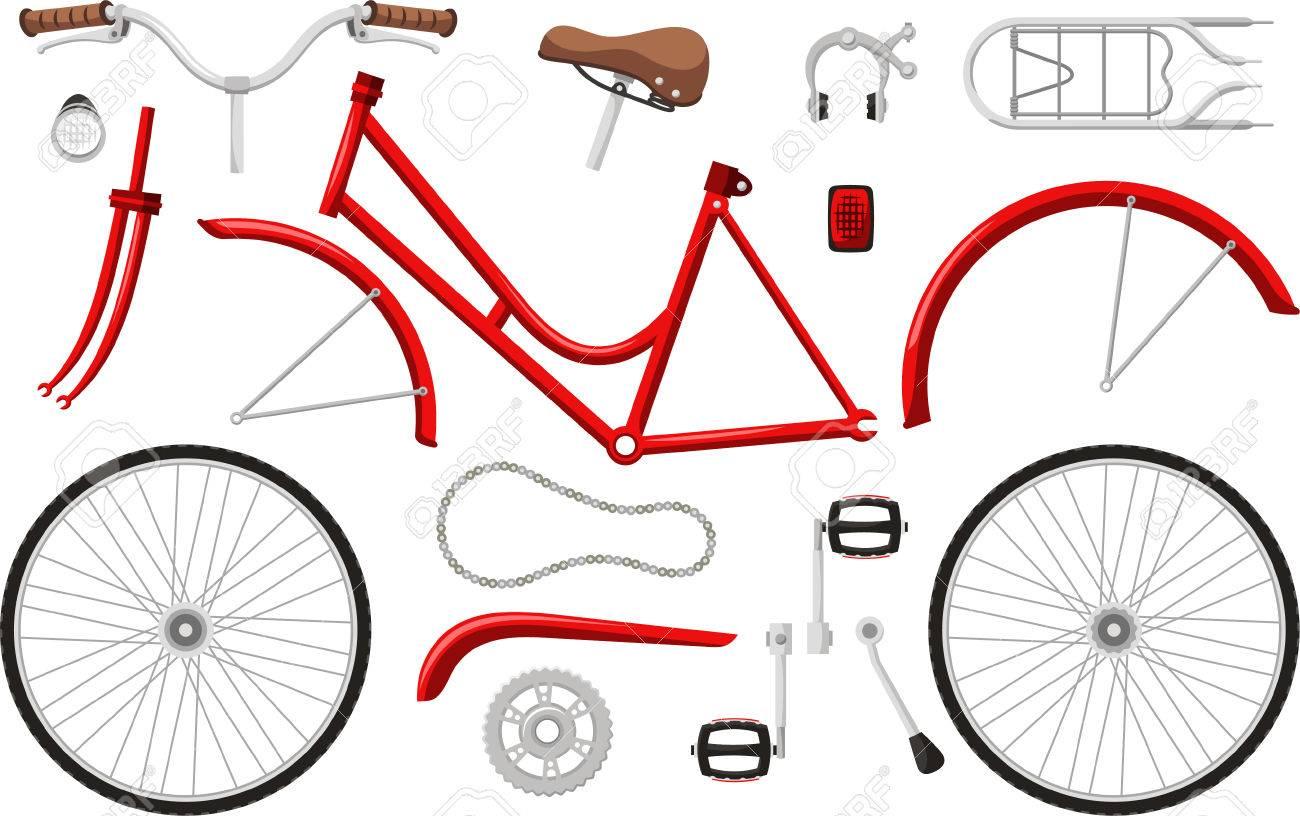 Bicycle Parts Set Cartoon Royalty Free Cliparts Vectors And Stock