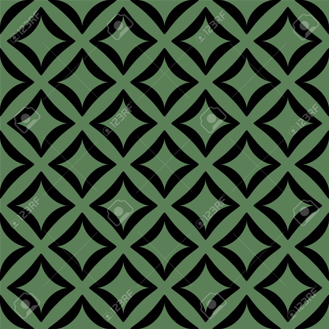 Black pattern on green seamless vector background. - 150328820
