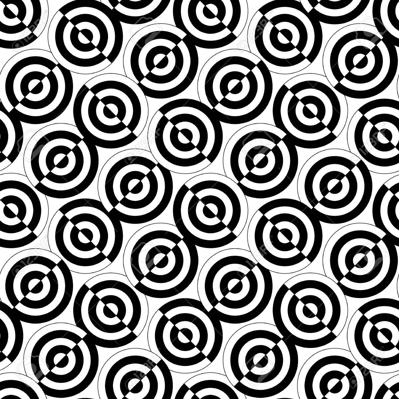 Retro black and white seamless circle background Stock Vector - 8495070