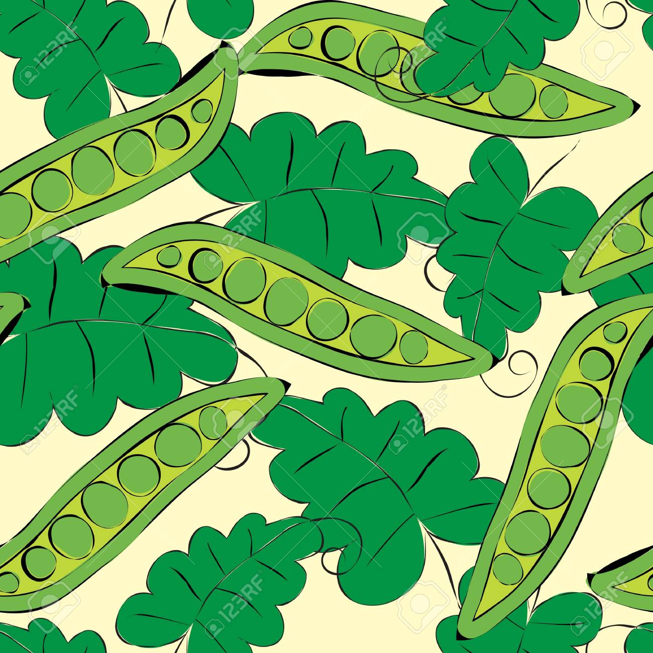 Pea pod seamless green pattern Stock Vector - 9495080