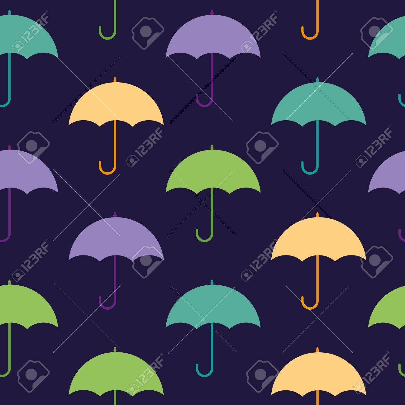 umbrella hand drawn seamless pattern caption royalty free cliparts