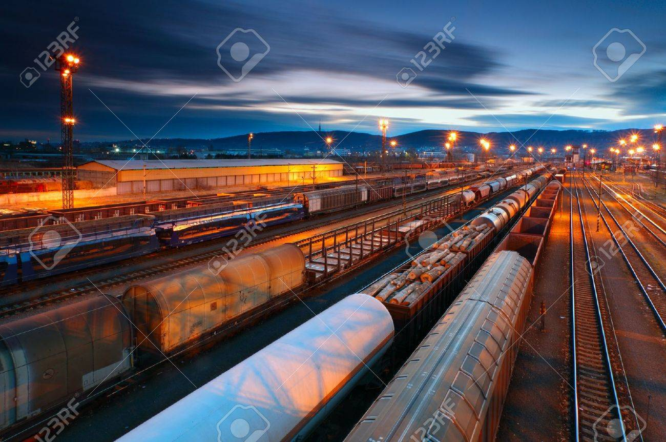 Cargo transportatio with the Trains and Railways Stock Photo - 12775848