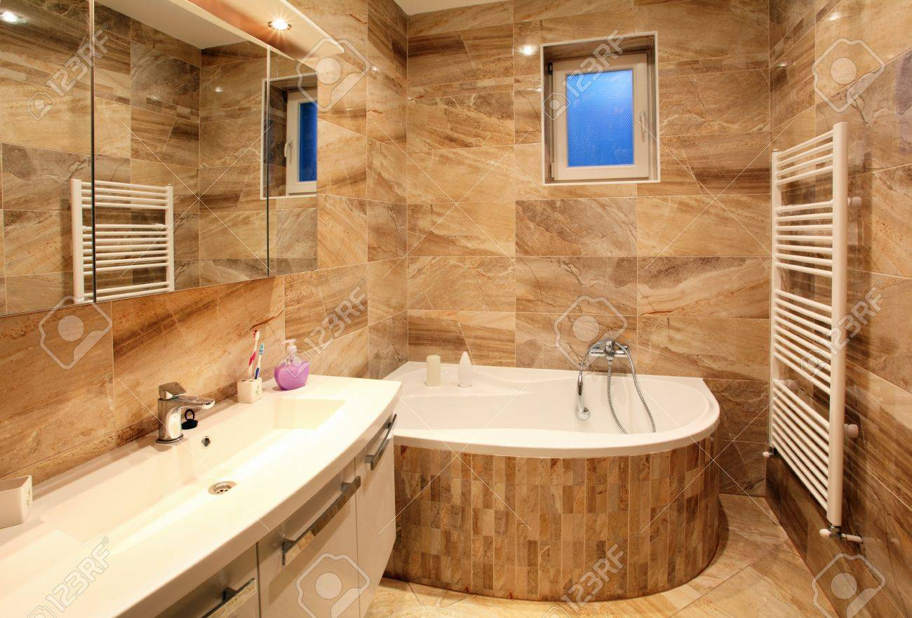 Bathroom In Luxury Home With Bath And Furniture Stock Photo   17175883