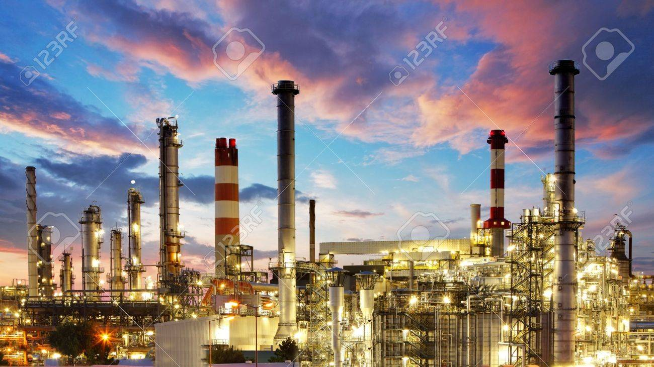 Oil and gas industry - refinery at twilight - factory - petrochemical plant Stock Photo - 17461876