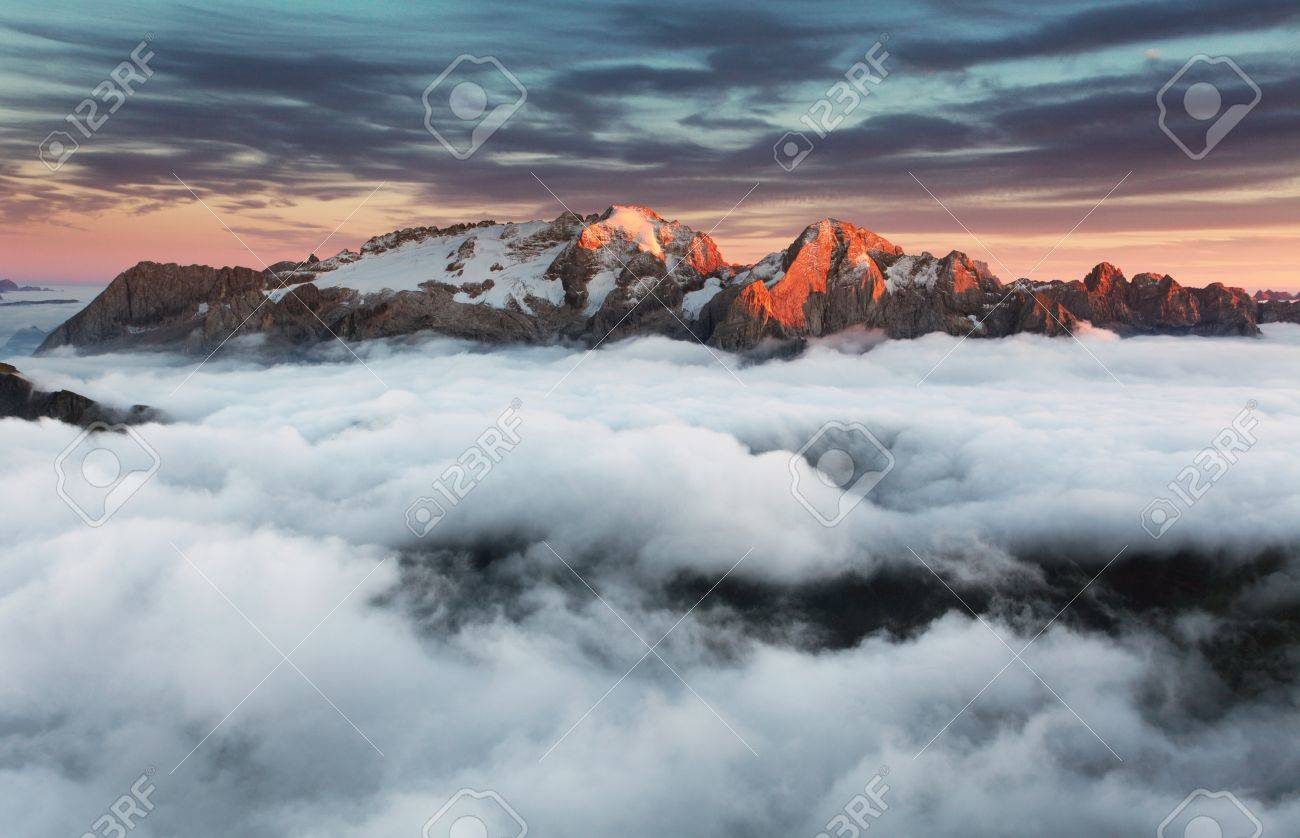 Beautiful spring landscape in the mountains. Sunset - Italy Dolomites Stock Photo - 17613059