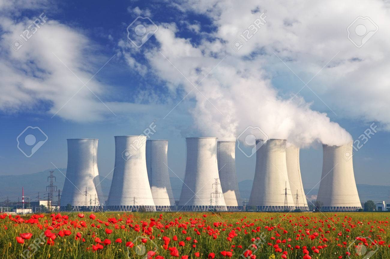 Nuclear power plant with a red field Stock Photo - 22750440