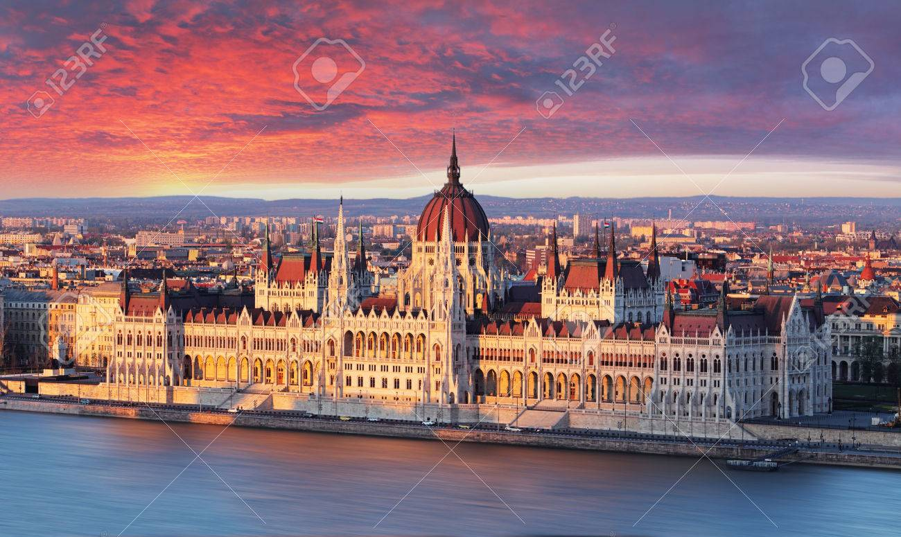 Budapest parliament at dramatic sunrise - 39294660