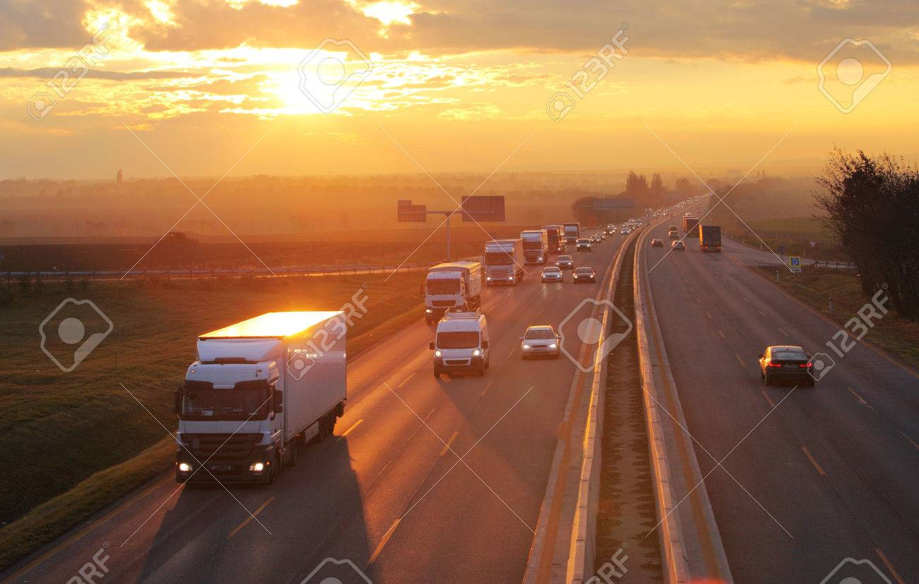 Highway transportation with cars and Truck - 52042281