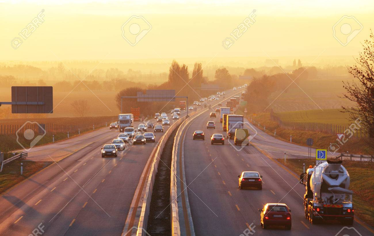 Traffic on highway with cars. - 52448404