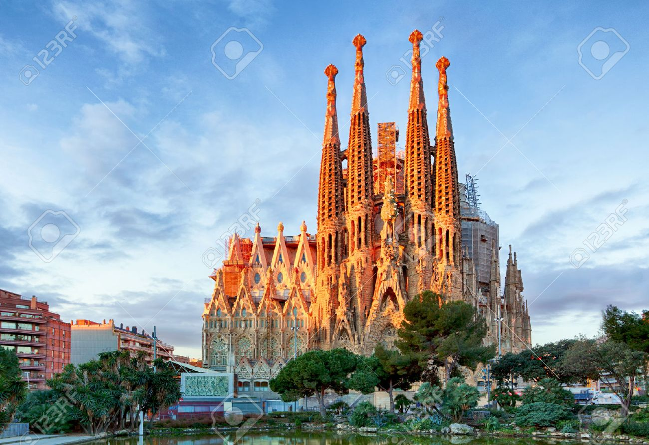 BARCELONA, SPAIN - FEBRUARY 10: La Sagrada Familia - the impressive cathedral designed by Gaudi, which is being build since 19 March 1882 and is not finished yet February 10, 2016 in Barcelona, Spain. - 53090282