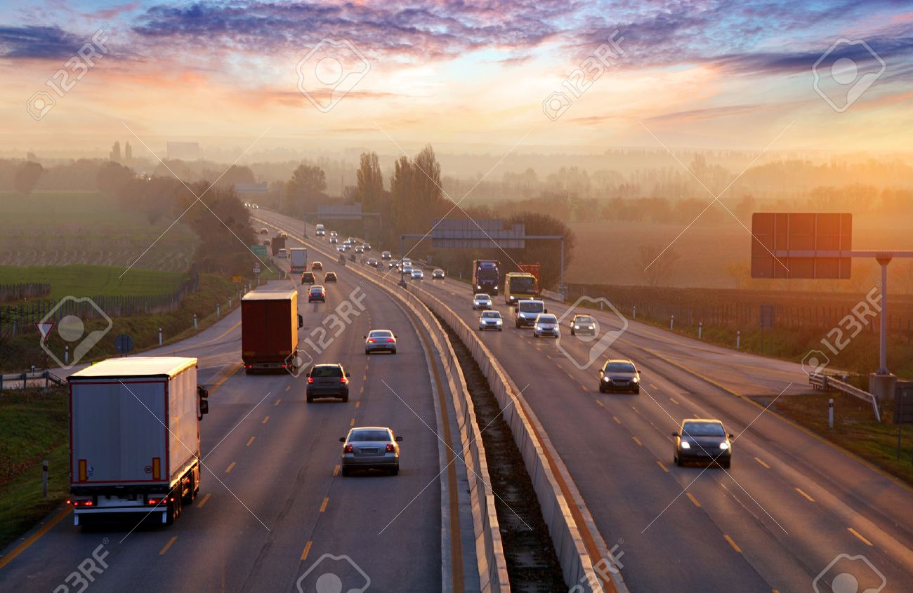Traffic on highway with cars. - 53131336