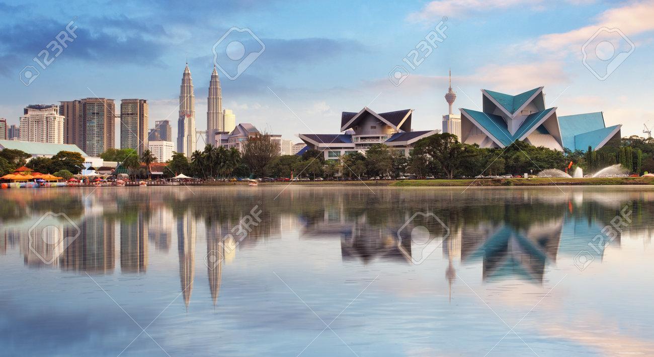 Kuala Lumpur, Malaysia skyline at Titiwangsa Park. - 57061853