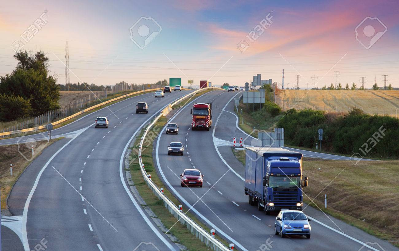 Highway transportation with cars and Truck - 55560180