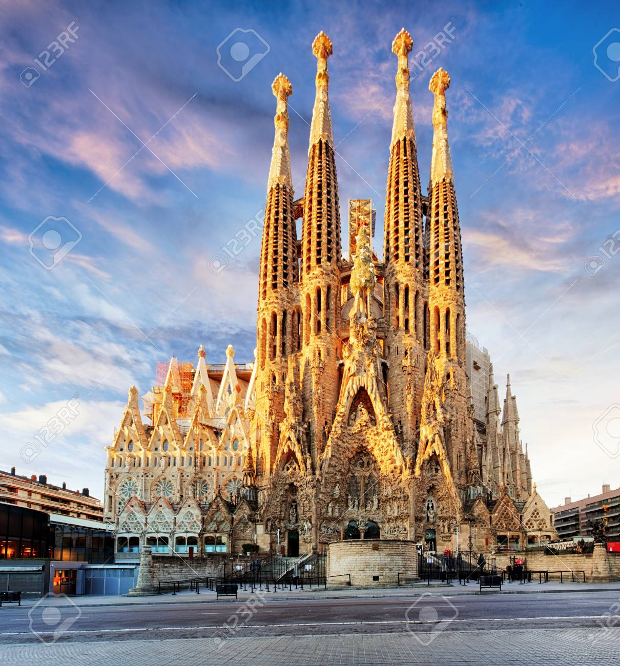 Barcelona Spain Feb 10 View Of The Sagrada Familia A Large Stock Photo Picture And Royalty Free Image Image 56983742