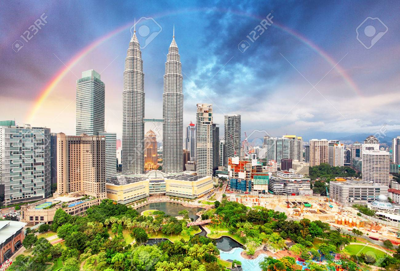 Kuala Lumper skyline with rainbow - 56983743