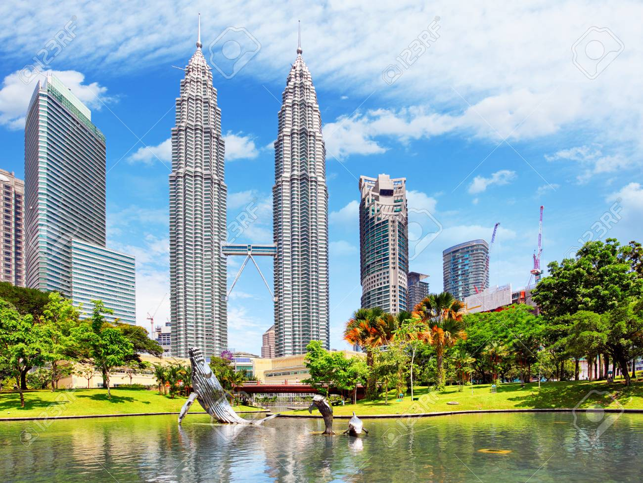 KUALA LUMPUR, MALAYSIA - Ferbruary 5: Petronas Towers on February 5, 2016 in Kuala Lumpur, Malaysia.Petronas Towers is the tallest buildings in the world from 1998 to 2004 - 59200239