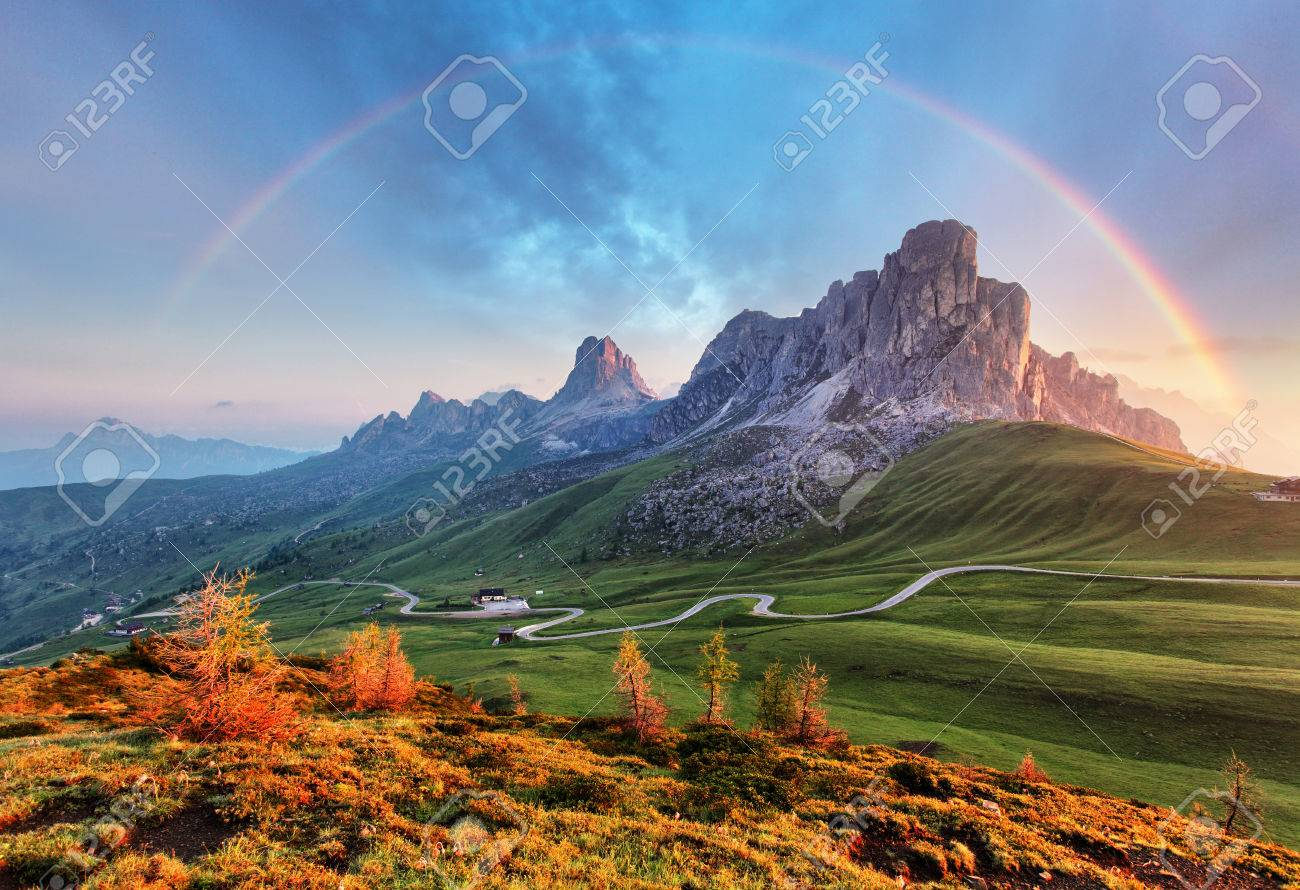 Landscape nature mountan in Alps with rainbow - 63811895