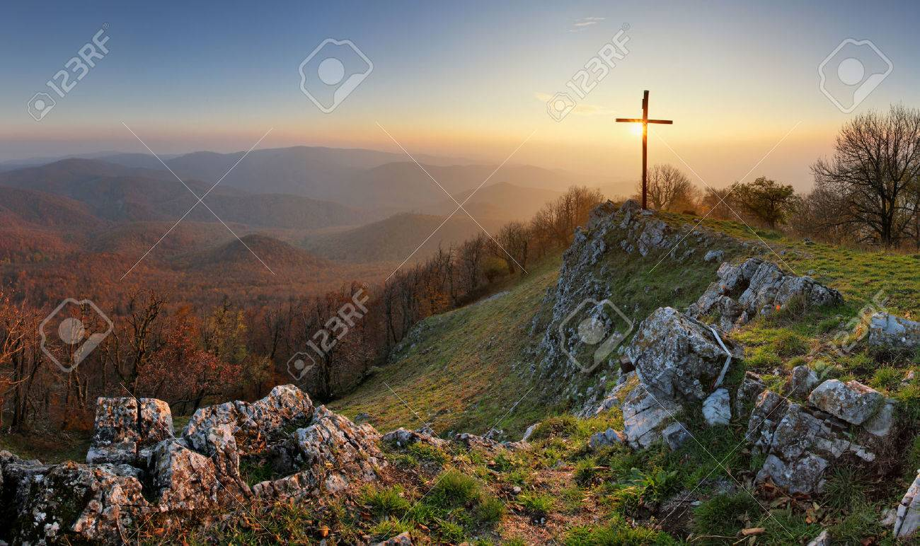 Autumn mountain panorama in Small Karpaty with cross - 63816129