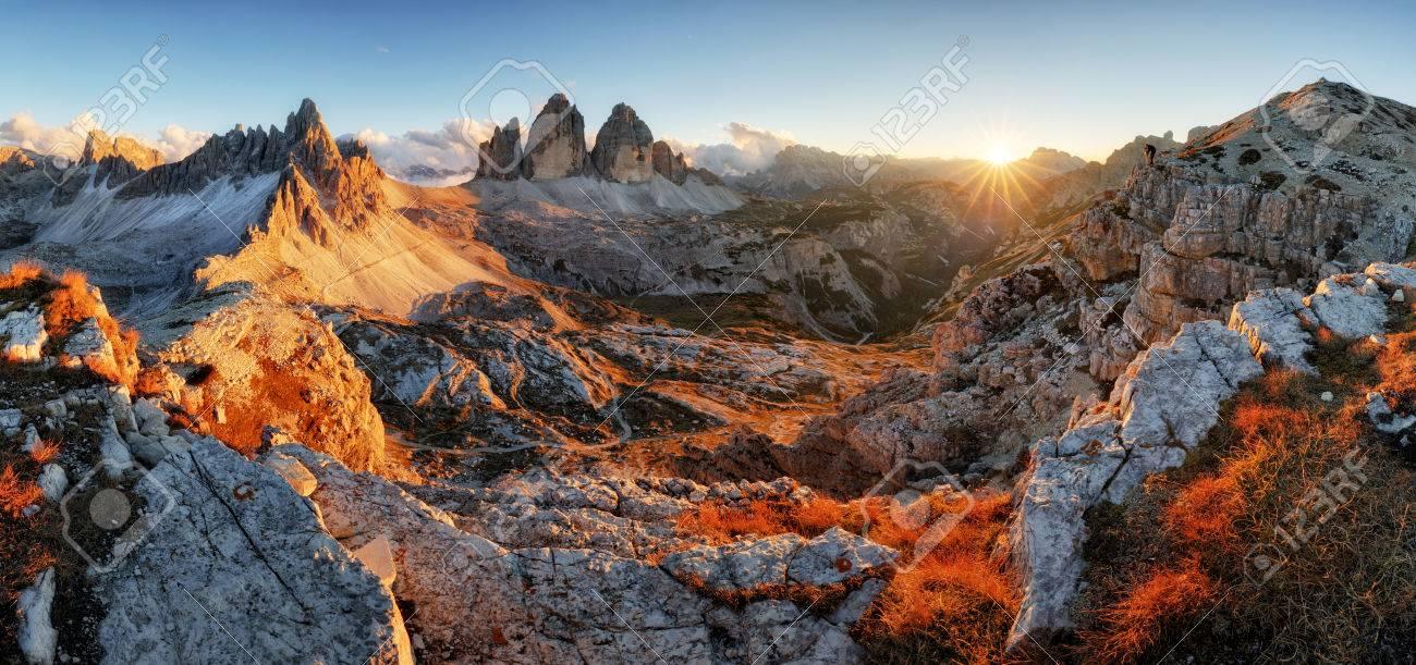 Dolomites mountain panorama in Italy at sunset - Tre Cime di Lavaredo - 65125699