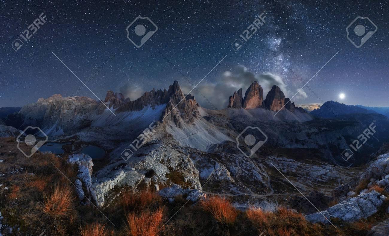 Alps Mountain landscape with night sky and Mliky way, Tre Cime di Lavaredo, Dolomites - 66143851