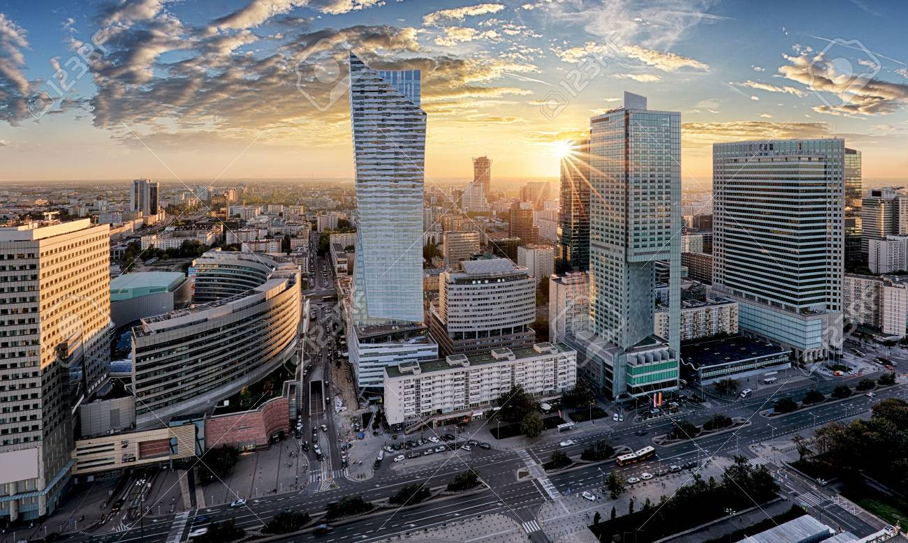 Warsaw city with modern skyscraper at sunset, Poland - 65908178