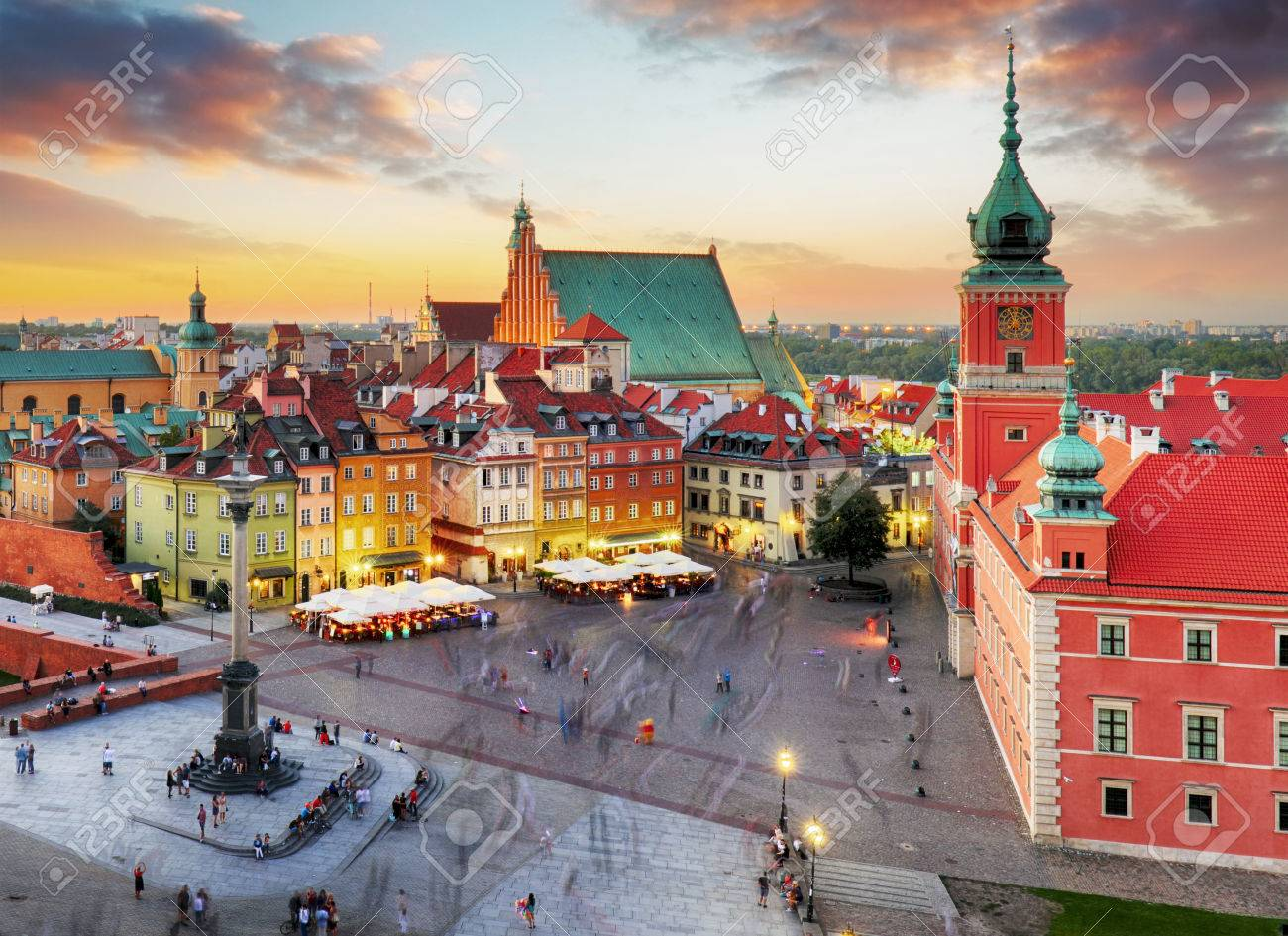 Night panorama of Old Town in Warsaw, Poland - 65908195