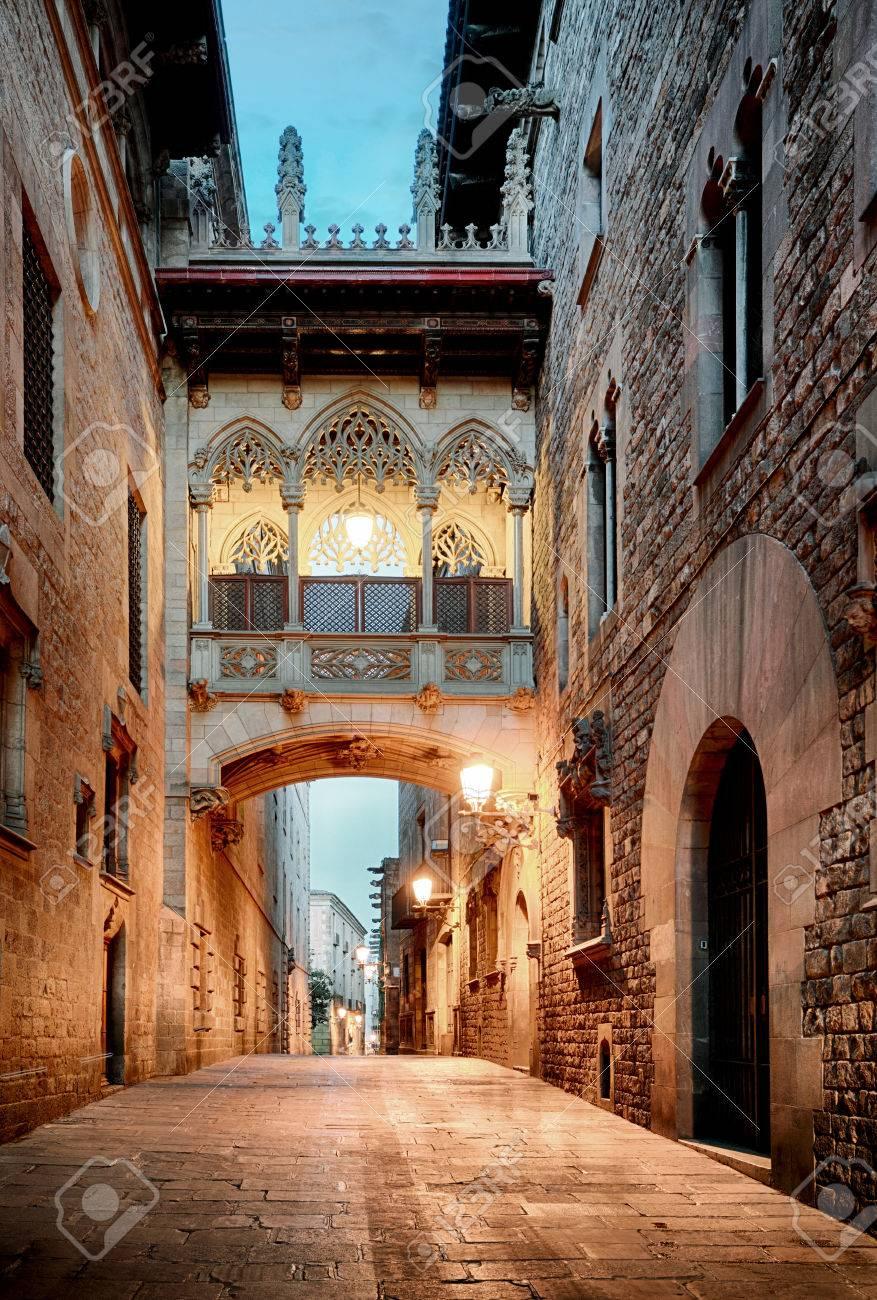 Barri Gothic Quarter and Bridge of Sighs in Barcelona, Catalonia, Spain - 66157601