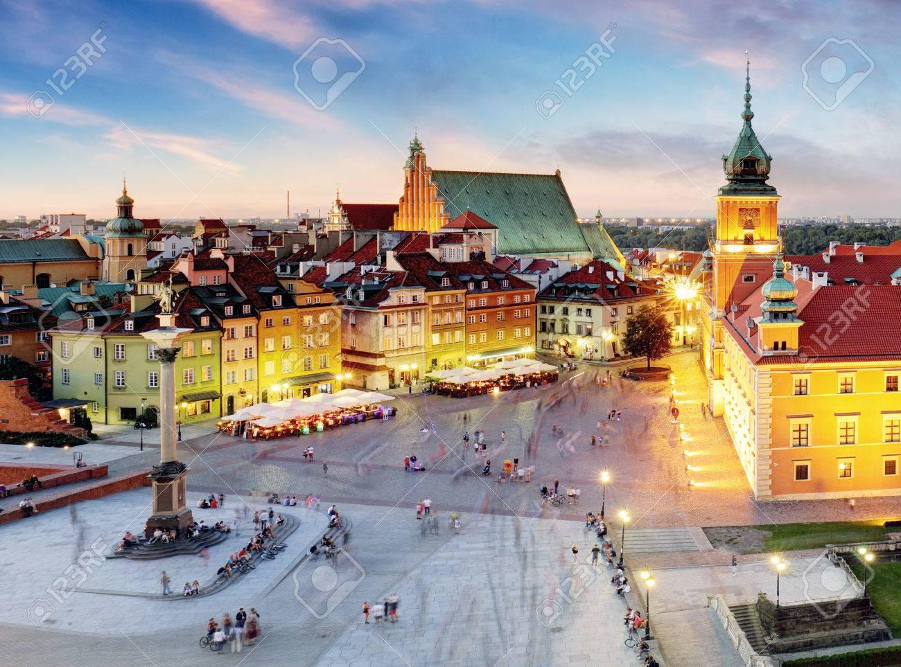 Warsaw, Old Town Warsaw, Poland during sunset. - 71563182
