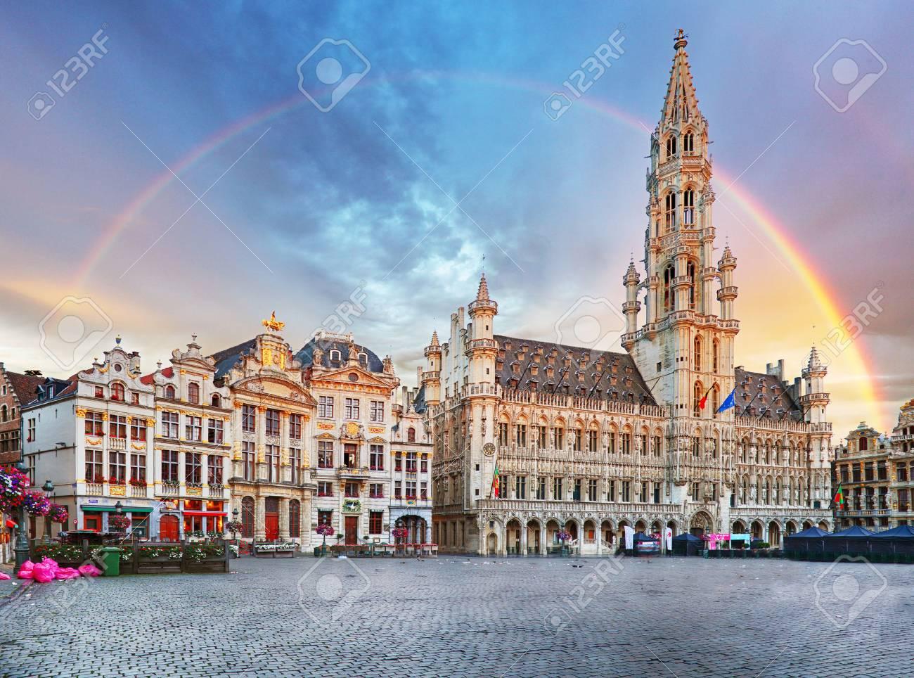 Brussels, rainbow over Grand Place, Belgium, nobody - 85657713