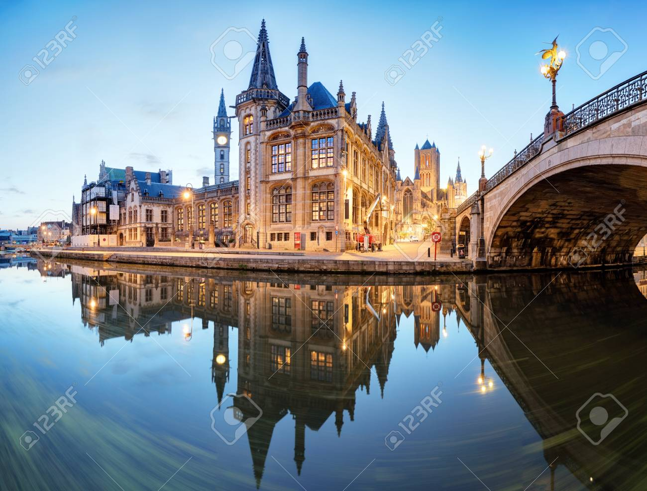 Ghent, Belgium during night, Gent old town - 91093404