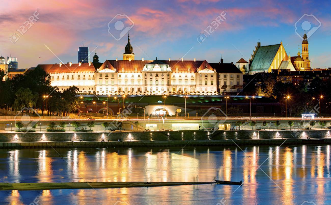 Vistula River waterfront and panorama of the Royal Castle in Warsaw, Poland. - 97956998