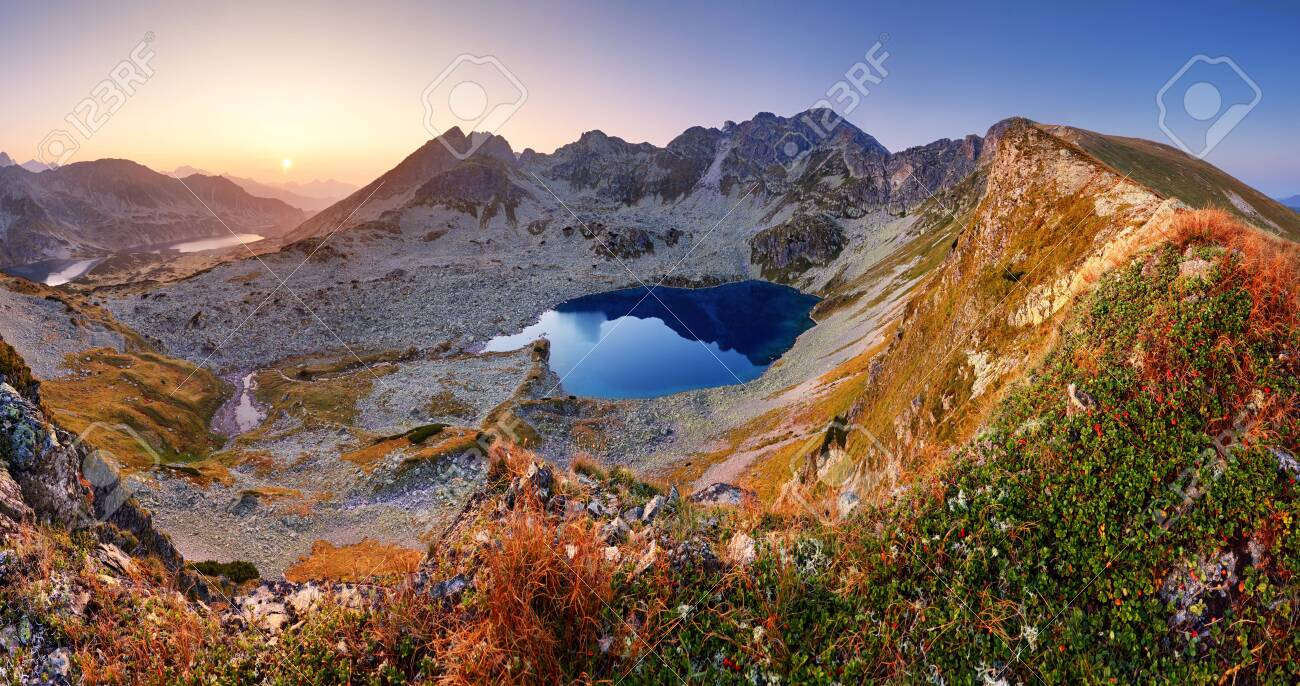 Panorama of mountain landscape at summer in Tatras at sunset in Slovakia - 122348532