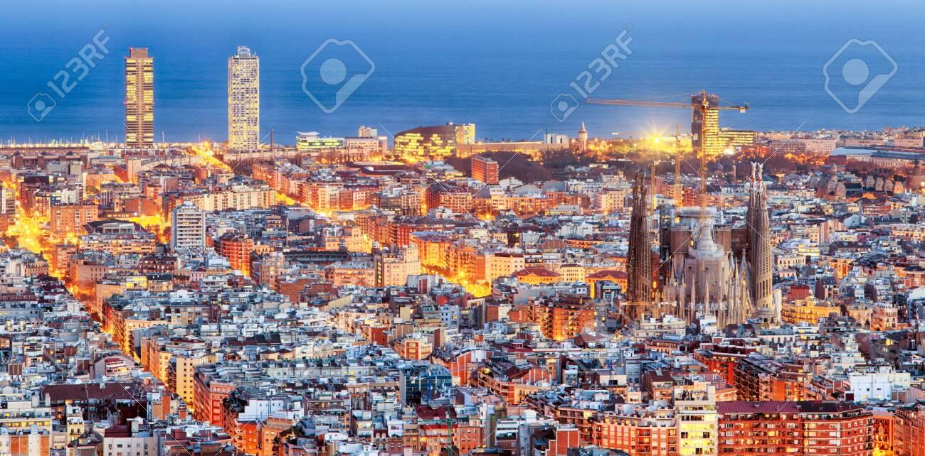 Panorama of Barcelona at dawn - 123587724