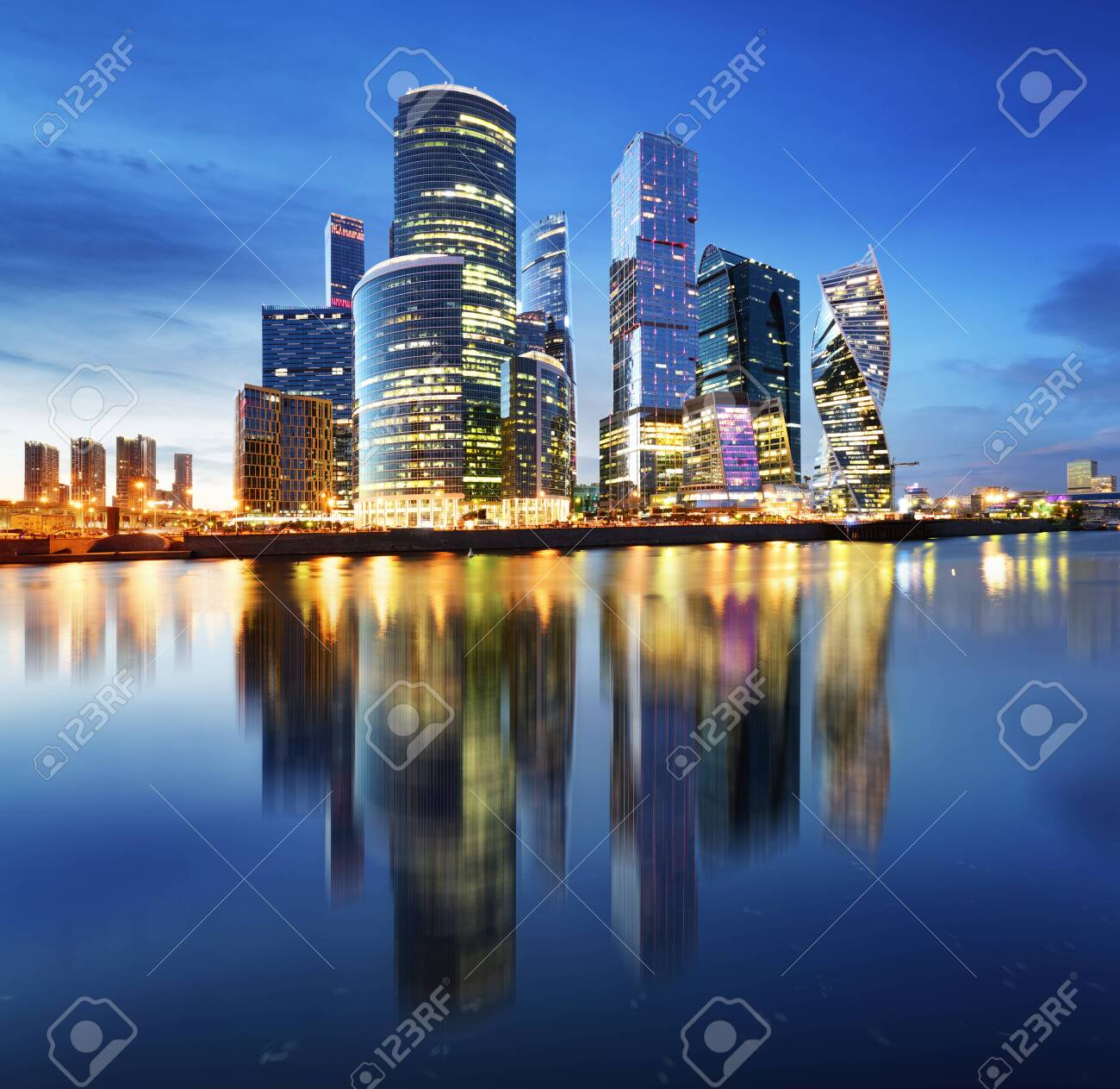 Moscow City Skyline International Business Centre At Night