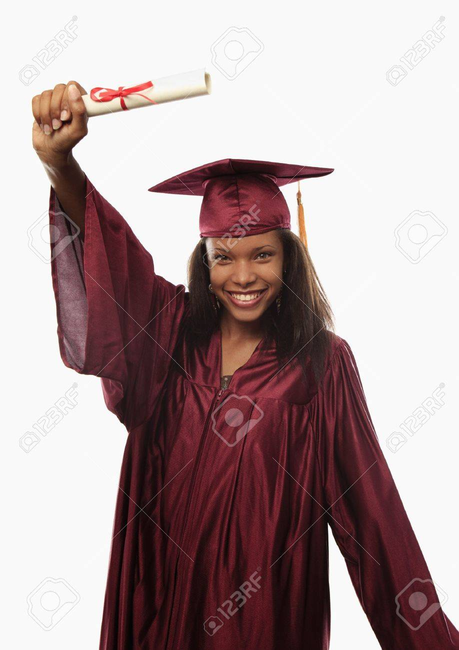 Female College Graduate In Cap And Gown With Diploma Stock Photo ...
