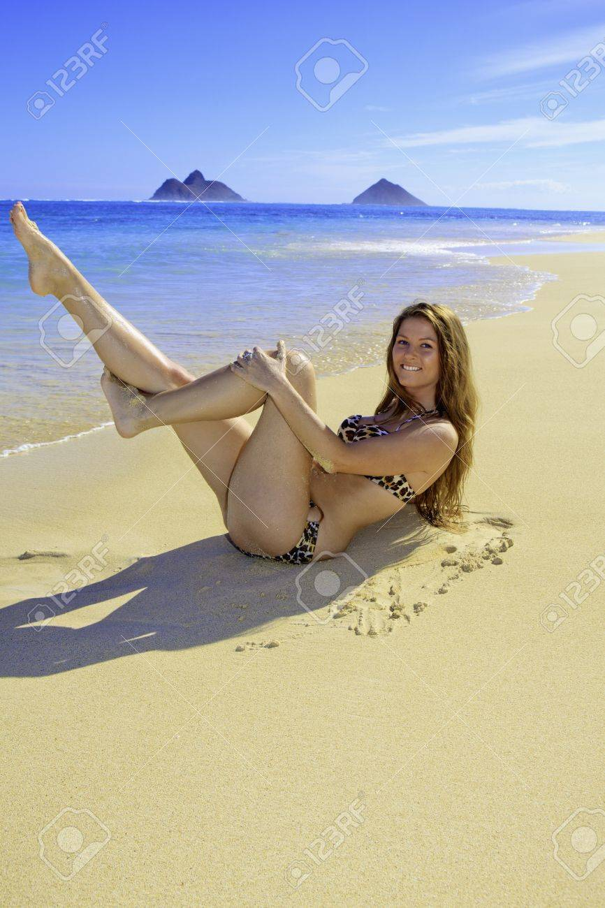 hawaii strande, schone madchen nackt