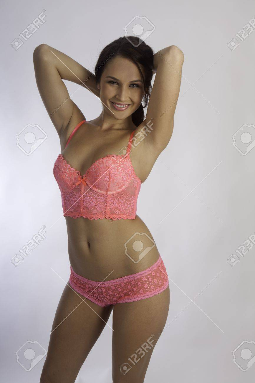 Blonde girl in pink bra and panties