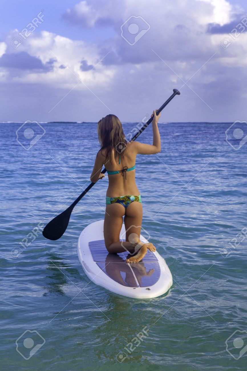 d9be37ff9c7 Beautiful Girl With Stand Up Paddle Board Stock Photo, Picture And ...
