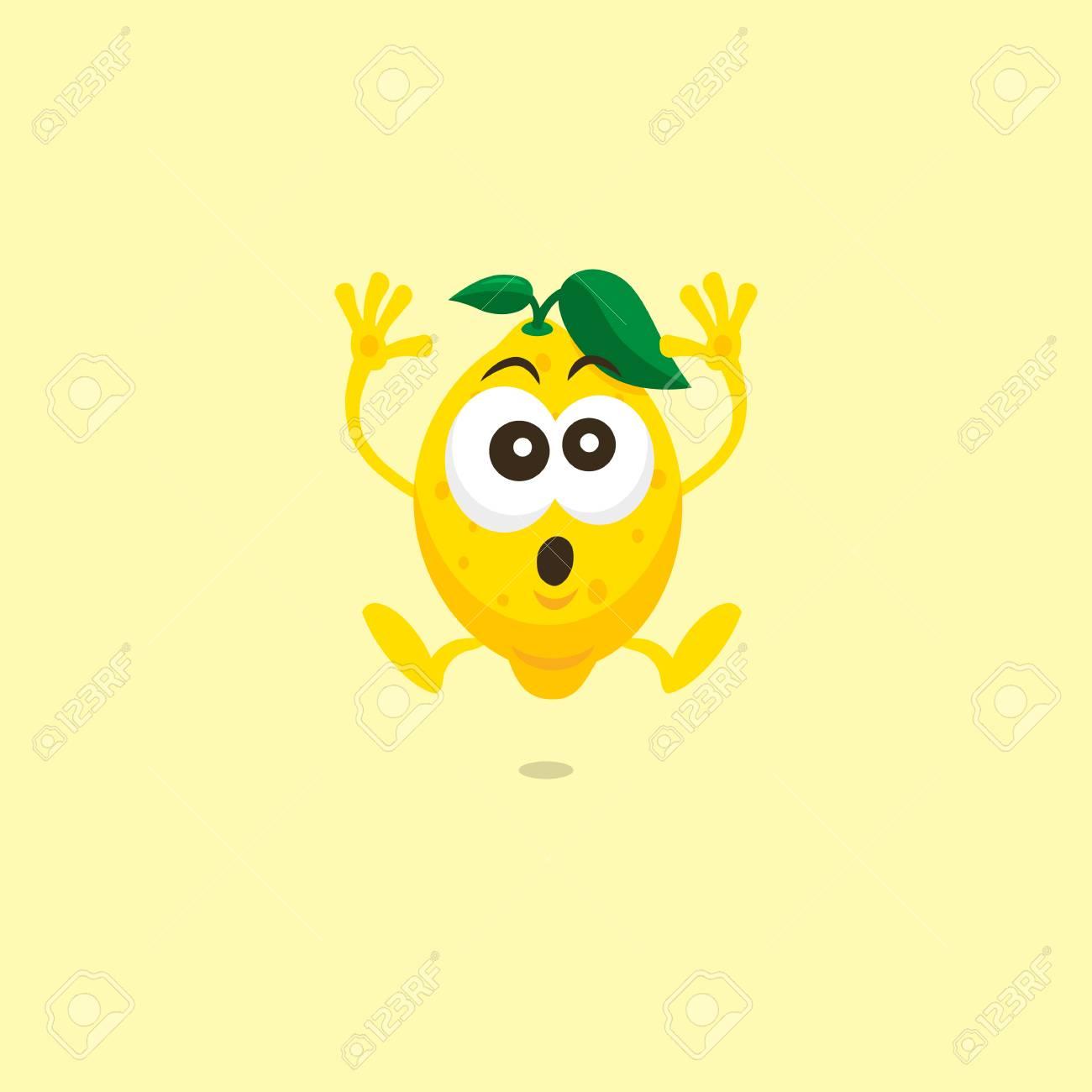 かわいいレモンのイラストでは明るい黄色の背景に分離されたマスコット