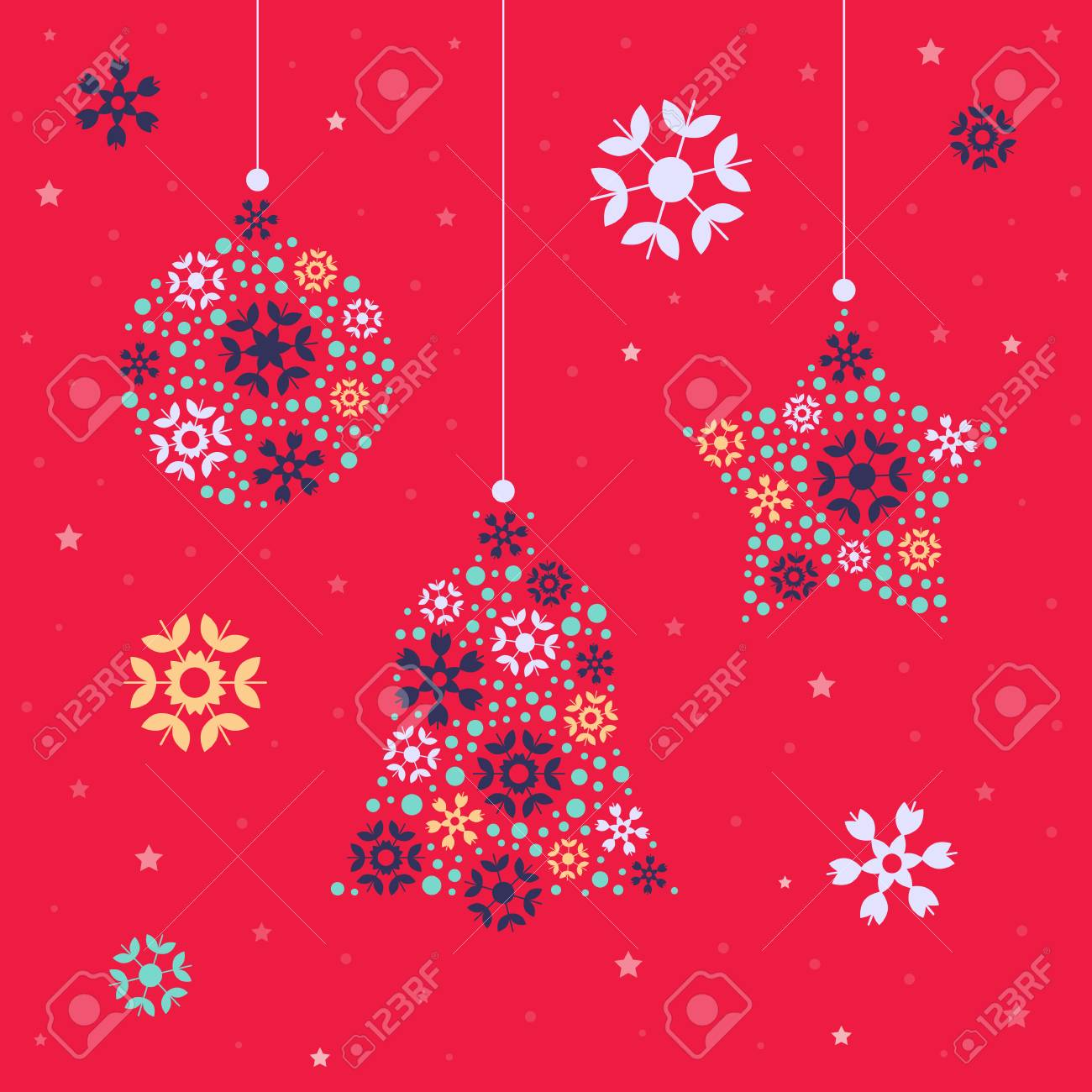 Christmas Card Template With Christmas Decorations Made Of Balls